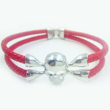 2015 Aliexpress Hot Sell Fashion Jewelry With Mens-Made Stingray Skin Red Leather Silver Plating Bracelet For Women HS004