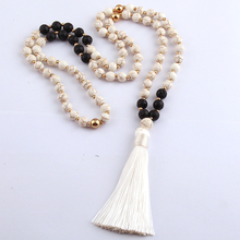 MOODPC Free Shipping Fashion White Stones Bohemian Tribal Jewelry Long White Tassel Necklace For Women Lariat Necklaces(China)