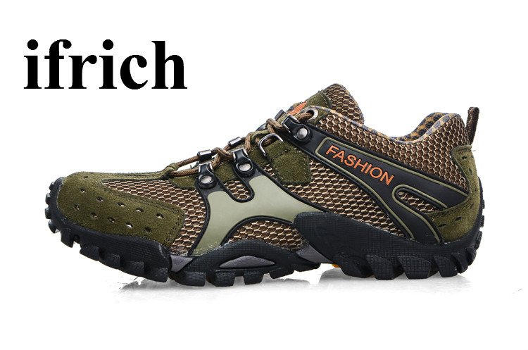 Ifrich Mountain Shoes Men Spring/Summer Outdoor Sneakers Mesh Breathable Hiking Trekking Boots Army Green Mens Mountain Boots<br>