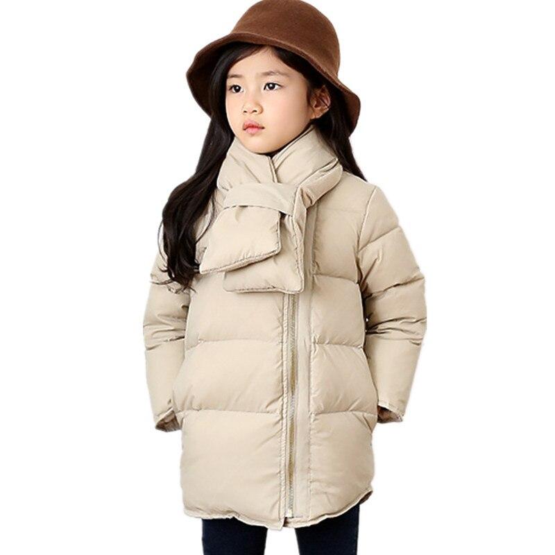 new brand Children korean style Coat Baby Girls Winter warm Coat Girls Warm Jacket Outerwear Thick Kids down coat with scarfОдежда и ак�е��уары<br><br><br>Aliexpress