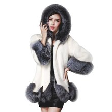 Korean 2017 Winter Women Faux Fox Mink Fur Coat  Female Warm Luxury Medium Long Fake Fur Coats Mujer Overcoat Outwear Y12