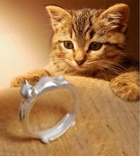 Silver Jewelry Cat Ear Rings Cute Animal Cat Rings for Women Party Gifts
