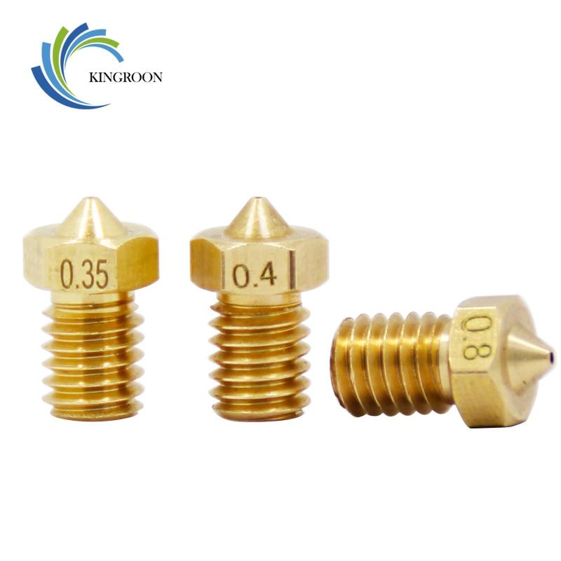 5pcs/lot V5 V6 Nozzle 0.2 0.25 0.3mm 0.35 0.4mm 0.5 0.6 0.8 1.0 Part Copper 1.75mm Filament M6 Threaded Brass 3D Printers Parts