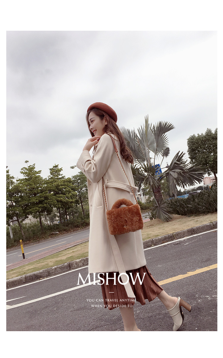 Mishow 19 autumn and winter woolen coat female Mid-Long New Korean temperament women's popular woolen coat MX17D9636 11
