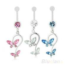 Butterfly Dangle Pendant Ball Button Barbell Bar Belly Navel Ring Body Piercing Jewelry 01JE(China)