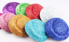 "Free shipping  6.3""(16cm)8 color  mini top fascinator hats/ party hats/glitter hats,DIY hair accessories 12pieces/lot MH020"