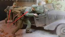 Free Shipping 1/35 Scale Unpainted Resin Figure WWII German soldiers Pushing car (just 2 figures)