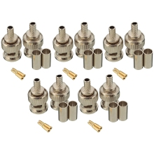 THGS 10 Sets 3-Piece BNC Male RG58 Plug Crimp Connectors