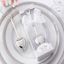 Hot Strainer Steeper Handle Shower Tea Strainer Tool Heart Shape Stainless Steel Tea Infuser Spoon With Package For Wedding gift