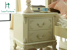 European wood nightstand British rural style ivory white cabinets cabinet furniture lockers(China)