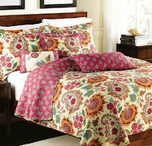 free shipping American country style 100% cotton 3 pcs quilt mediterranean style bedding set applique patchwork bedspread set(China)