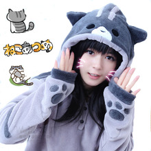 New Design Game Neko Atsume Cosplay Costume Hoodie Woman Cute Cat Thicken Flannel Hooded Sweatershirts Winter Coat Jacket(China)