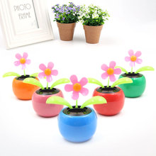 Hot Solar Powered Flip Flap leaves Flower Flowerpot For Car Ornament Swing automatic Flower Toy Gift Colorful
