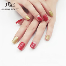 Buy New Fashion Pre Design Fake Nail Tip 24Pcs Short Square False Nail Acrylic Gold/Red False Nails ABS Fake Tips Double Tapes for $1.69 in AliExpress store