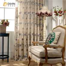 DIHIN 1 PC Ready Made Linen Cloth Curtains Cortina Curtain For Bedding Room Natural Window Screening Blinds For Living Room