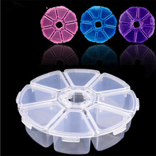 1pcs Mini 8 Slots Empty Nail Art Rhinestone Gems Plastic Box Round Storage Case Jewelry Beads Makeup Accessories Organizer(China)