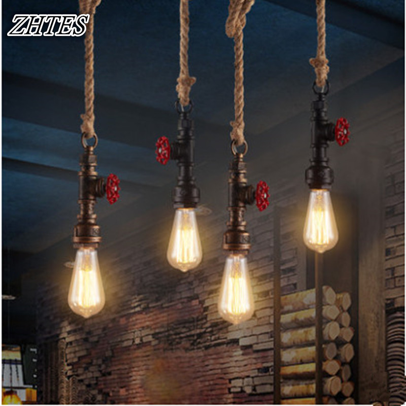 Industrial Vintage Hemp Pendant Light Creative  Pipe Single Head Iron Pendant Lamp Loft Restaurant  Bar Lighting<br>