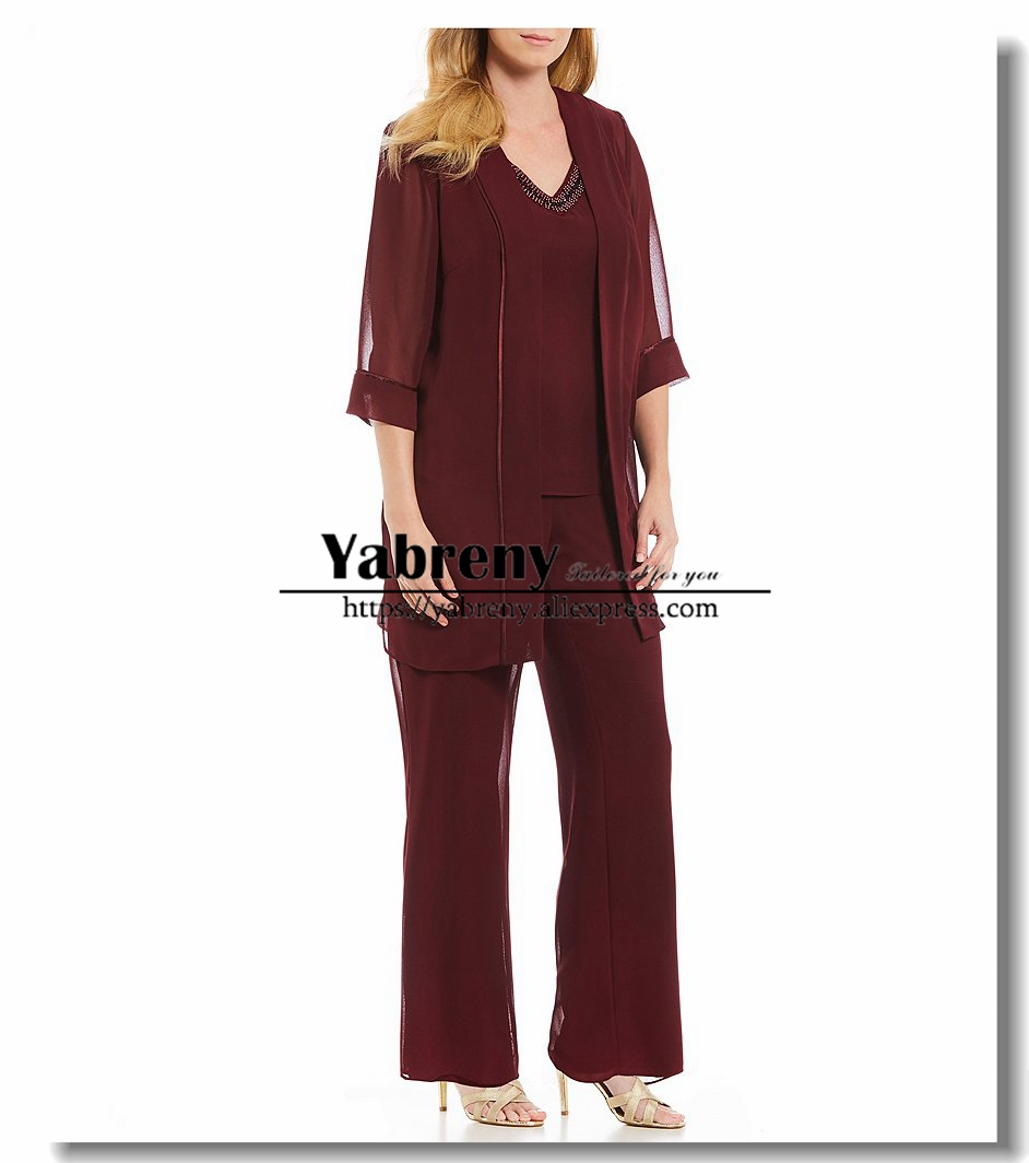 Burgundy Chiffon Beaded Neck Three pieces Mother of the Bride Pantsuits with Jacket Plus size
