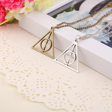 2017 Hot Sale Movie H-P Deathly Hallows Antique Triangle Pendant long Chain Necklace Gift For Men and Women 4ND226(China)