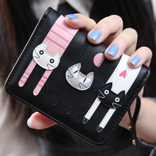 New Women Mini Purse Lovely Cats Wallet Card Holder Purse Zipper Multiple Cards Holder For Girls Popular