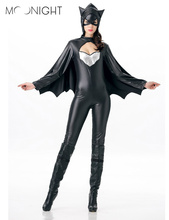 MOONIGHT Sexy Batman Carnival Costume For Women Jumpsuits With Black Cloak Halloween Batman Performance Wear