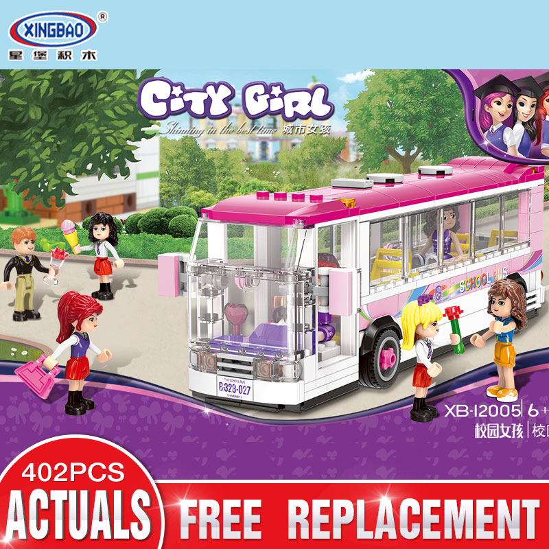 XINGBAO 12005 New 402Pcs City Girl Series The School Bus Set Building Blocks Bricks Educational Funny Toys Model For Kids Gifts<br>