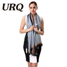 2016 Fashion Grey Ladies Scarves High Quality Silk Scarf Luxury Brand Designer Bandana Accessories Print Spring scarf shawl(China)