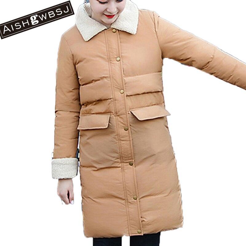 AISHGWBSJ winter coat women warm short coats solid button parka feminina thicker outwear parkas mujer chaqueta invierno PL024Îäåæäà è àêñåññóàðû<br><br>