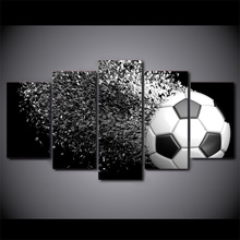 HD Printed 5 Piece Canvas Art Football Disintegration Painting Wall Pictures Modular Framed Painting Free Shipping(China)
