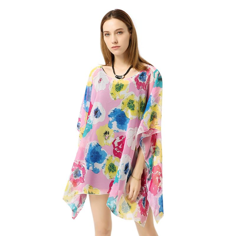 Blouses & Shirts Womens Travel Outdoor Sunproof Bikini Cover Up Vintage Colored Large Floral Printed Pullover Kimono Tops Semi-sheer Side Split C