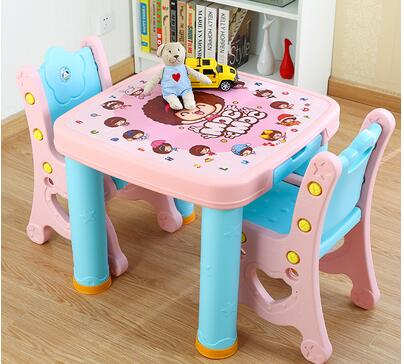 Study desk and chair set. Combination table. Childrens plastic table of a set of desk and chair<br>