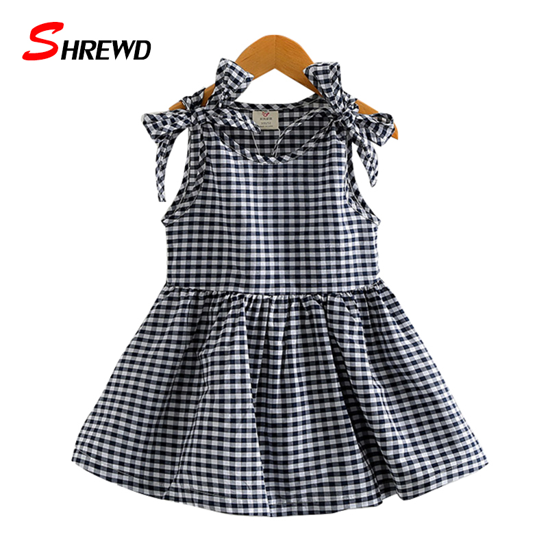 Dress Girl Kids 2017 Summer New Casual Plaid Dress For Girl Kids Bow Sleeveless O-neck Simple Children Clothing 4924W<br><br>Aliexpress