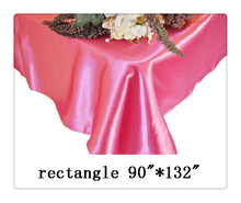 "Free shipping rectangle tablecloth size 90""*132"" color hot pink for wedding"