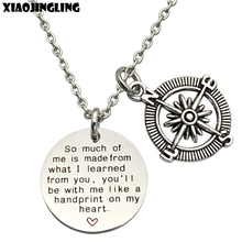 XIAOJINGLING High Quality Stainless Steel Necklaces Compass Pendant Long Necklace Unique Thanksgiving Gifts For Parents Teacher