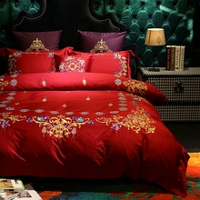 Red wedding embroidery duvet cover satin bed sheets pillow case,queen king size luxury duvet cover bed sheets pillow case