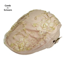 [Comb&Scissors] Brand Gold Lace flowers lady pink black berets cap for man adjustable Peaked cap Berets Hat sun Peaked Cap(China)