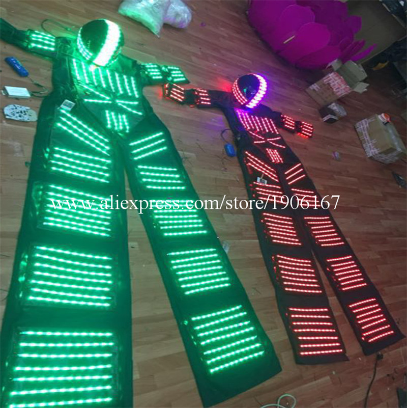 RGB Flashing LED Costume LED Stilts Walker Light suits LED Robot suits Kryoman robot david guetta robot with Helmet01