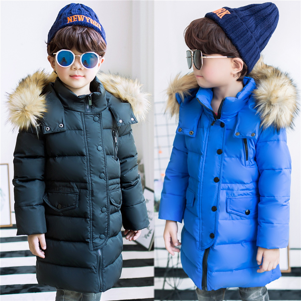 Brand Fashion Childrens Down Jackets/coat winter fur Big boy Coat thick duck Down feather jacket Outerwear cold winter-40degree<br>