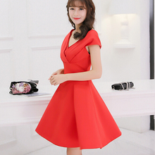 Buy Korean Summer dress women clothing cute slim show thin bodycon dress fashion patchwork short sleeve black red dress Vestidos for $12.35 in AliExpress store