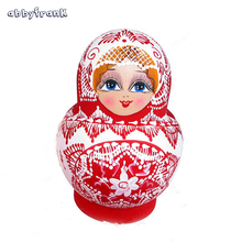 Abbyfrank 10Pcs/Set Wooden Nesting Dolls Matryoshka Traditional Doll Russian Nesting Dolls Handheld Paint Funny Toy for Children(China)