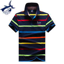 Tace & Shark brand polo shirt men elegant fashion cotton breathable embroidery striped camisa polo casual shark polo homme 8640