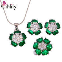 Kunzite Green Quartz Black Onyx Zirconia Silver Plated Wholesale Women Jewelry Necklace Pendant Earring Ring Jewelry Set NT165-7