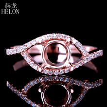 HELON 6.5-7mm Round Cut Semi Mount Genuine Natural Diamond Ring Solid 14K Rose Gold Engagement Wedding Ring Women's Fine Jewelry(China)