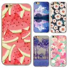 Soft TPU Cover For Apple iPhone 5 5S SE 6 6S 6Plus 6S 7 7+ Cases Phone Hot Selling Painted Summer Watermelon Tree Flowers Series(China)