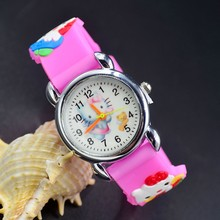 3D Cartoon Lovely Kids Girls Boys Children Students Quartz Wrist Watch Very Popular watches Hello Kitty kt cat