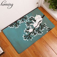 Homing 40*60cm Welcome Home Hallway Entrance Door Mats Cute Cartoon Sleeping Rubbit in Tree Pattern Mats Colorfast Bedroom Rugs(China)