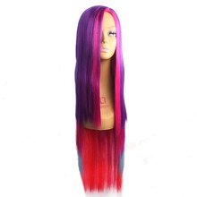 65cm Colorful Mixed Color Long Straight Amir Pony Rainbow Dash Cosplay Harajuku Women Wigs Synthetic Hair Wig(China)