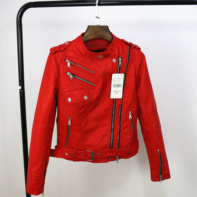 New 2017 Spring Fashion Women Motorcycle PU Short Leather Jackets  Black Red Fit Autumn winter Leather Jackets coat with Belt