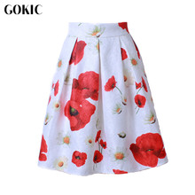 GOKIC 2017 New Audrey Hepburn Style Women's tutu Skirt High Waist 3D Carving Floral Pleated Midi Skirts Vintage Ball Gown