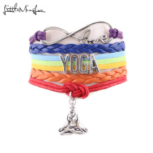 Little MingLou 7 Chakra Infinity love Yoga bracelet Hatha Yoga Meditation OHM Asana sport charm men bracelets bangles for women(China)